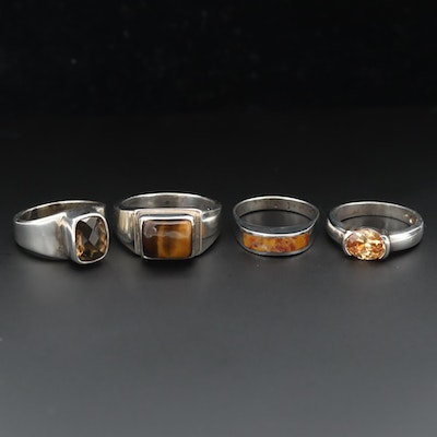 Sterling Silver Rings Featuring Smoky Quartz, Tiger's Eye and Jasper