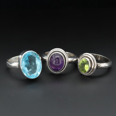 Sterling Silver Periodot, Amethyst and Glass Rings