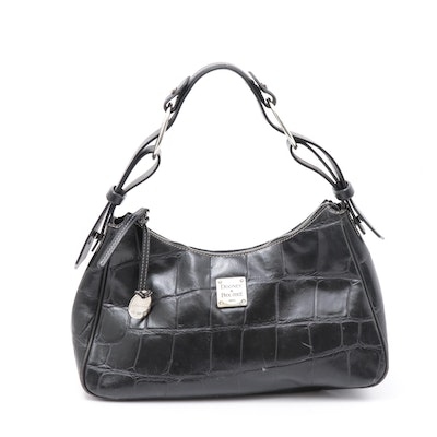 Dooney & Bourke Crocodile Embossed Black Leather Handbag