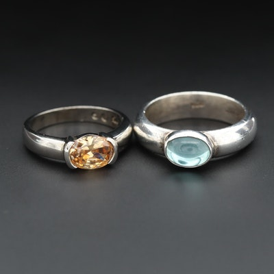 Sterling Silver Cubic Zirconia and Glass Rings