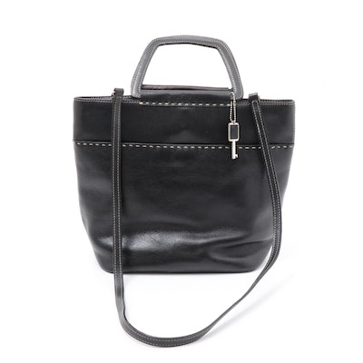 Fossil Black Leather Top Handle Shoulder Bag with Contrast Stitching