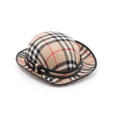 "Burberrys ""Nova Check"" Bowler Hat Trimmed in Black"