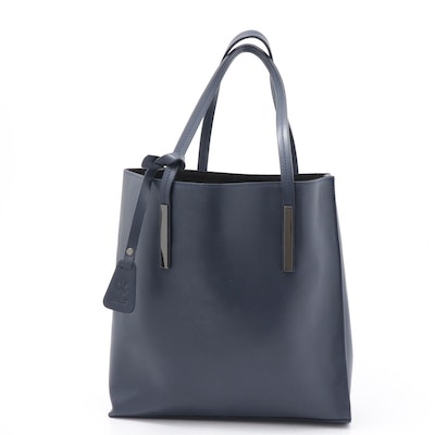 Vera Pelle Italian Navy Leather Tote