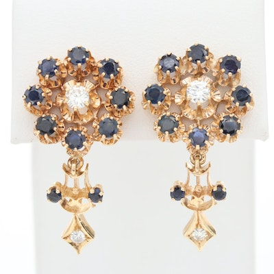 Vintage 14K Yellow Gold Diamond and Sapphire Earrings