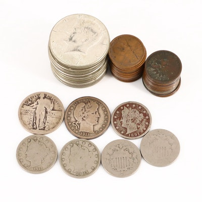 Assorted American Coins Including 1911 Silver Barber Quarter