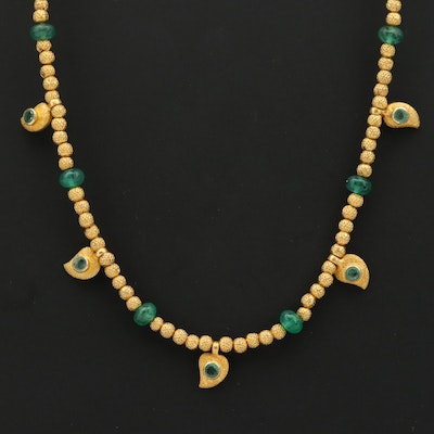 14K Yellow Gold Beaded Emerald Necklace