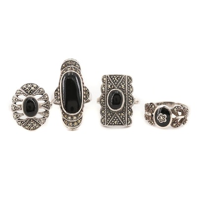 Sterling Silver Rings with Black Onyx and Marcasite