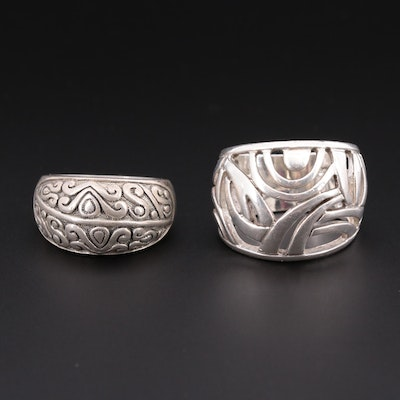 Sterling Silver Open Work and Tapered Scroll Rings