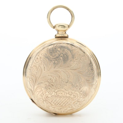 Vintage Gold Tone Photo Locket with Glass