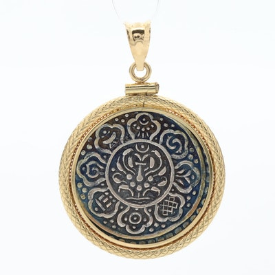 18K Yellow Gold Pendant with Silver Mandala-Style Charm Coin
