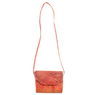 Embossed Leather Crossbody Bag, Made in India
