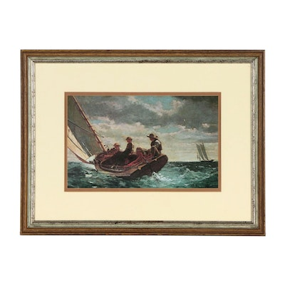 "Offset Lithograph after Winslow Homer ""Breezing Up (A Fair Wind)"""