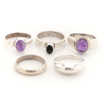 Sterling Silver Amethyst and Black Onyx Rings with Sterling Bands