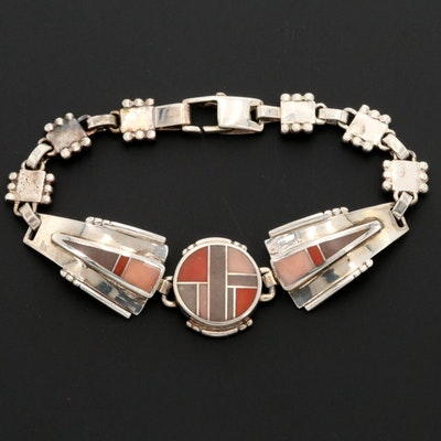 Vintage Ray Tracey Navajo Diné Sterling Jasper, Shell and Coral Inlay Bracelet