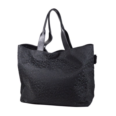 Longchamp Black Signature Fabric and Leather Tote