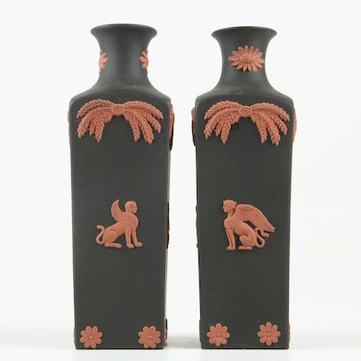 "Wedgwood ""Black Basalt"" Bud Vases with Terracotta Sphinx Motif"