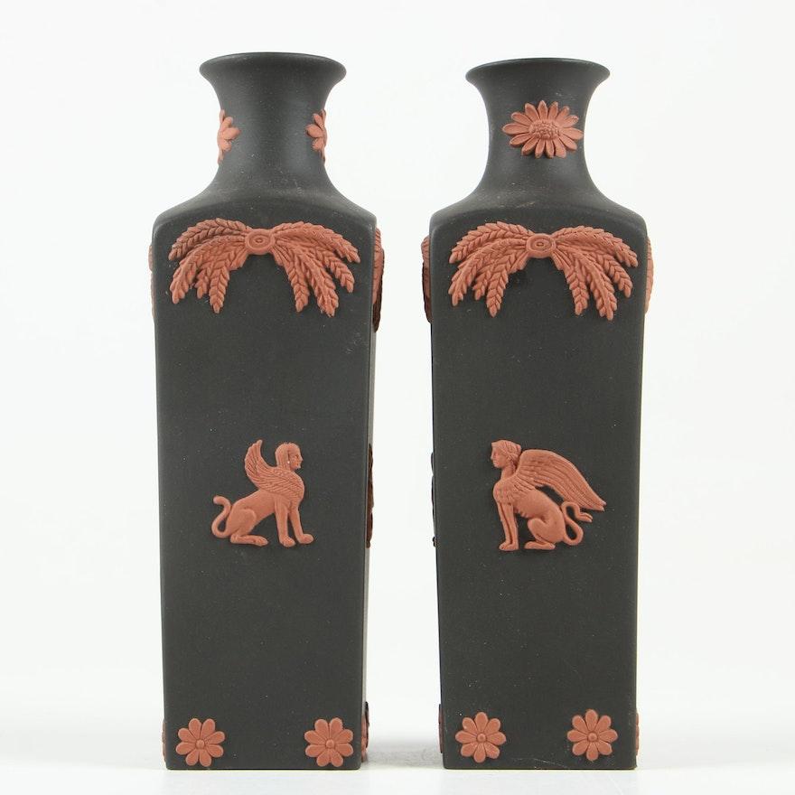 """Wedgwood """"Black Basalt"""" Bud Vases with Terracotta Sphinx Motif"""