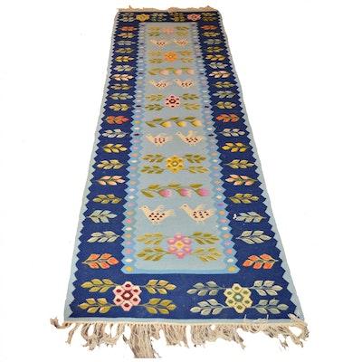 2'7 x 8'6 Handwoven Bird and Floral Wool Runner