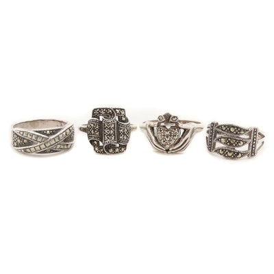 Sterling Silver Marcasite Rings with Claddagh and Crossover Ring