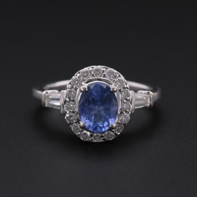 14K White Gold Tanzanite and Diamond Ring with Halo