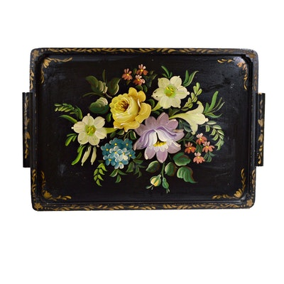 Tole Style Hand-Painted Wooden Tray with Floral Motif, Early 20th Century