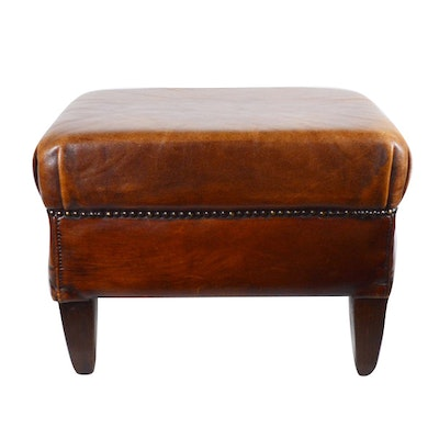 DNG Trading BV Leather Ottoman, Contemporary