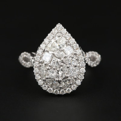 18K White Gold 1.10 CTW Diamond Ring