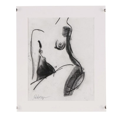 "Robbie Kemper Charcoal Drawing ""Nude 203"""