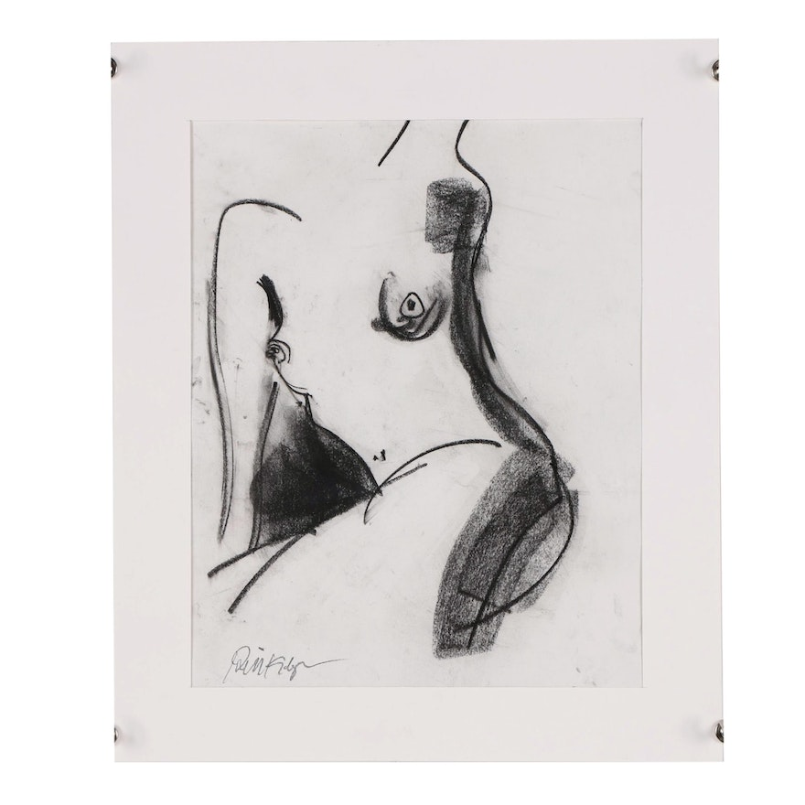 """Robbie Kemper Charcoal Drawing """"Nude 203"""""""