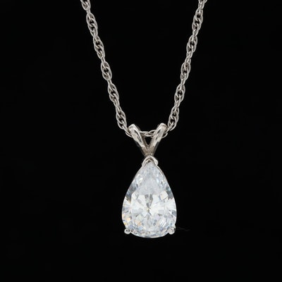 14K White Gold Cubic Zirconia Pendant Necklace