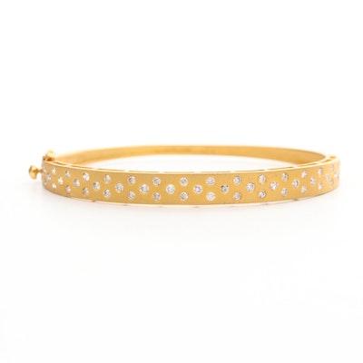 14K Yellow Gold 1.08 CTW Diamond Hinged Bangle Bracelet