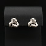 14K White Gold and Diamond Trinity Motif Clip-On Earrings