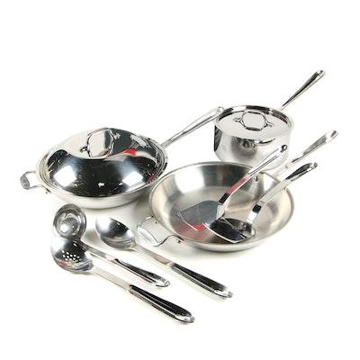 All-Clad Lidded Wok, Skillet, Saucepan and Cooking Utensils