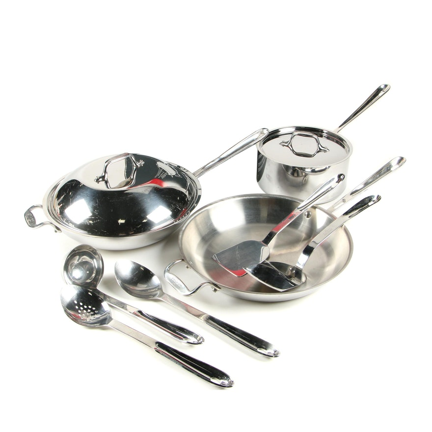All-Clad Lidded Wok, Skillet, Saucepan and Cooking Utensils