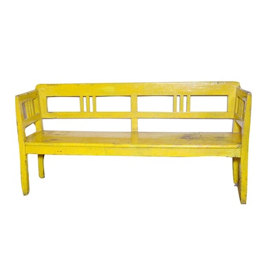 Yellow Painted Pine Bench, Early 20th Century