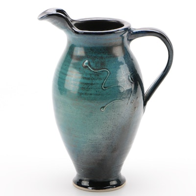 Wheel Thrown Art Pottery Pitcher