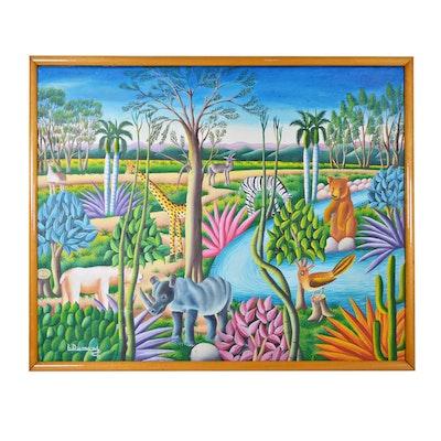 L. Dumond Oil Painting of Haitian Jungle Scene