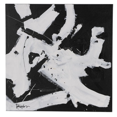 "Robbie Kemper Abstract Acrylic Painting ""White & Black Dabs"""