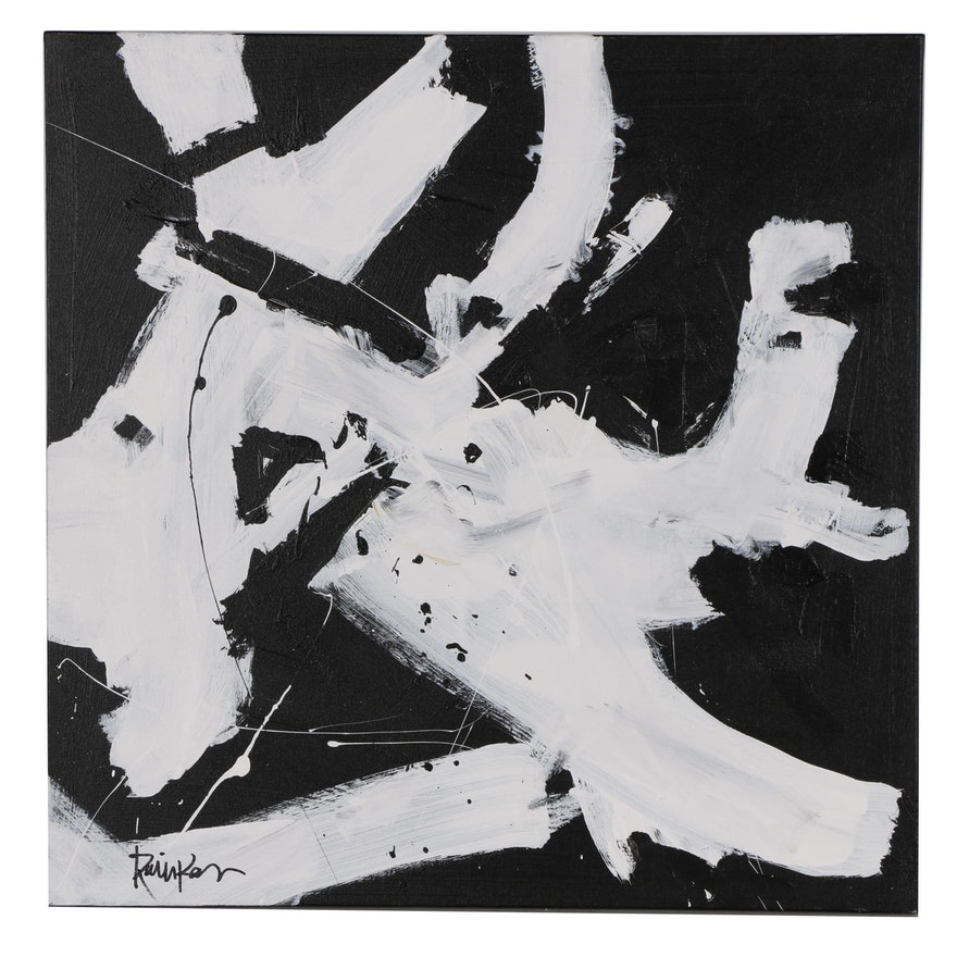 """Robbie Kemper Abstract Acrylic Painting """"White & Black Dabs"""""""