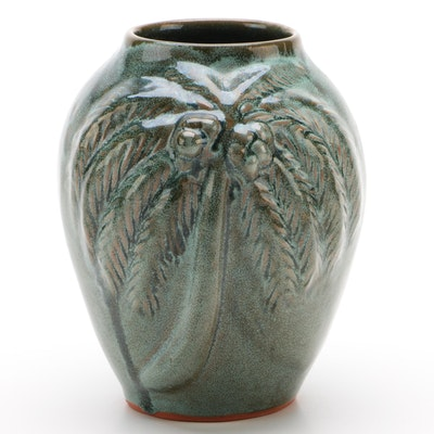 Studio Art Pottery Palm Tree Vase, 1994