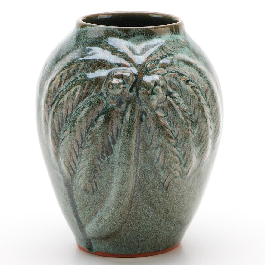 Studio Art Pottery Palm Tree Vase, 1994