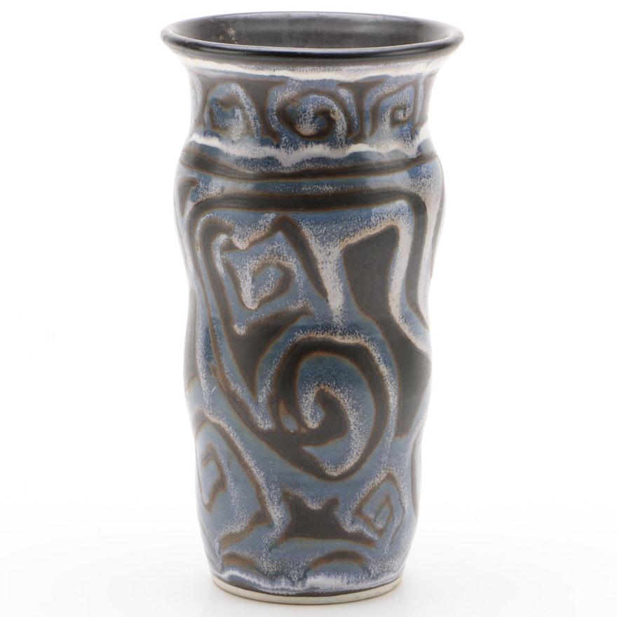 Theresa Yondo Wheel Thrown Art Pottery Vase, 1990