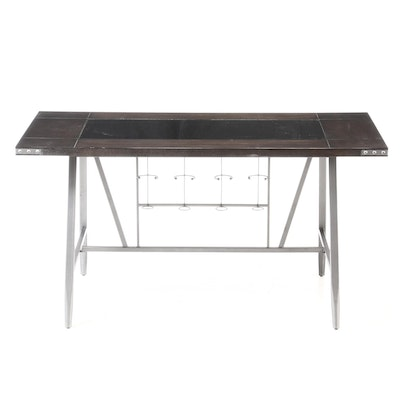 Ryan International Glass Top Metal Pub Table, Contemporary