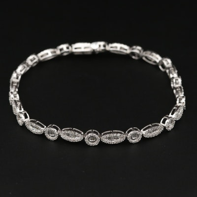 14K White Gold 1.00 CTW Diamond Bracelet