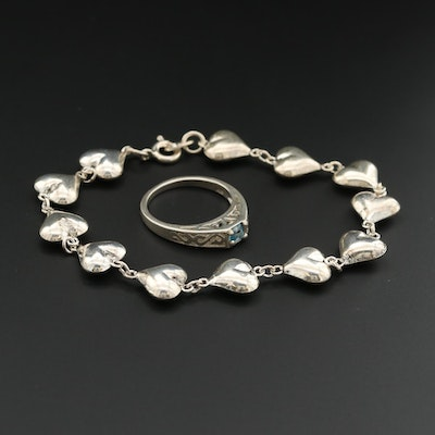 Sterling Silver Puffy Heart Bracelet and Topaz Ring