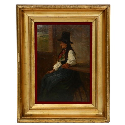 Late19th/Early 20th Century Peasant Woman Portrait Oil Painting