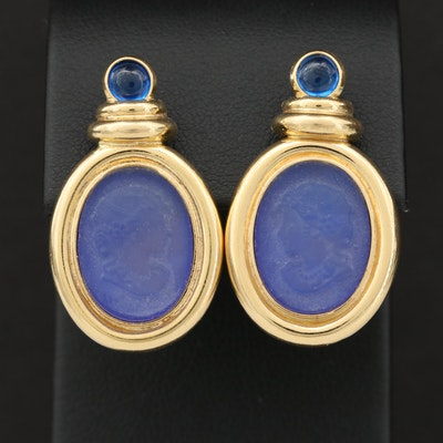18K Yellow Gold Spinel and Blue Glass Earrings