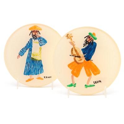Israeli Reverse Painted Acrylic Plaques