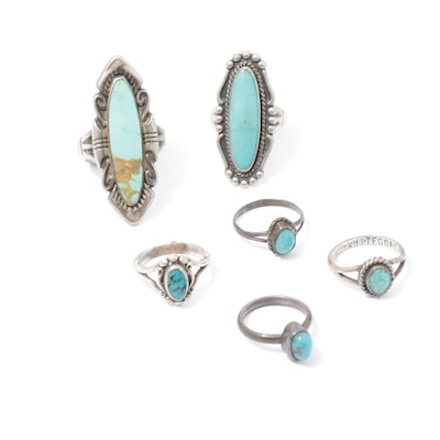 Vintage Southwestern Style Sterling Turquoise Rings Including Navajo Diné