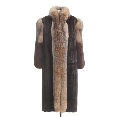 Fox Fur Trimmed Ranched Mink Fur Full Length Coat